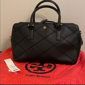 Tory Burch Robinson Stitch Satchel Black